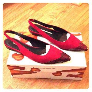 Donald J Pliner Slingback Red Suede Shoes